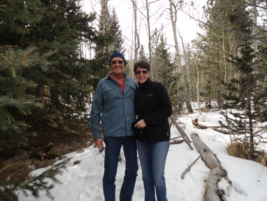 Manitou Springs, CO: Taking a break on the descent. Finally get to touch snow.