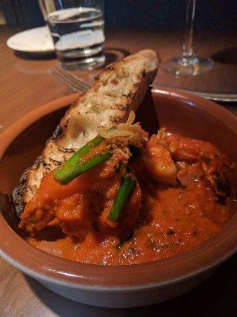 Gulf Shrimp w/ romesco sauce and charred bread