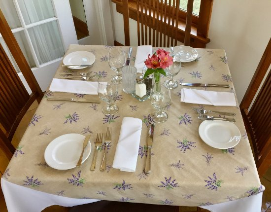 Auburn, NY: A table setting for four