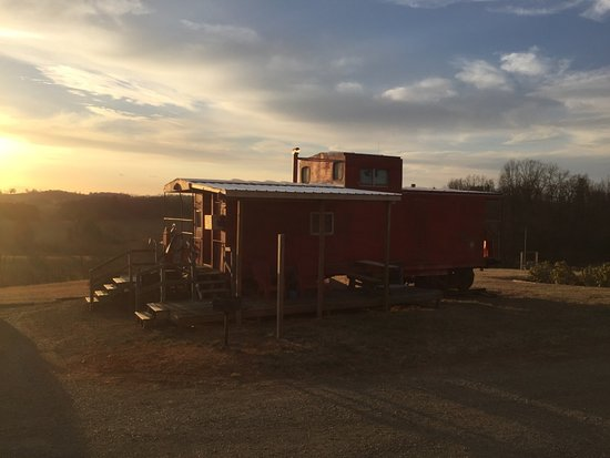 Fancy Gap, VA: Our Grassy Creek Caboose at Sunset March 2017