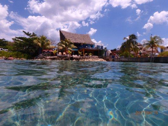 Tikila Bar: pic in the water looking at Tikila