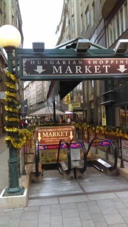 Vaci Street: Entrance to Hungarian shopping market at váci utca