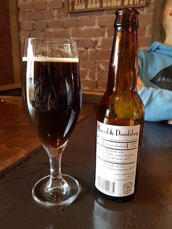 """Naaldwijk, Holland: Mexican wrap and """"moord en doodslag"""" beer (Brewery """"de molen"""")."""