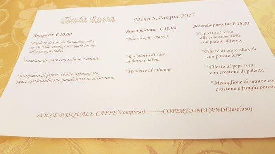 San Fedele Intelvi, Italia: Menù pasquale 2017