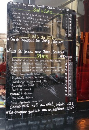 The menu picture of comptoir de l 39 arc paris tripadvisor - Le comptoir de l arc paris ...