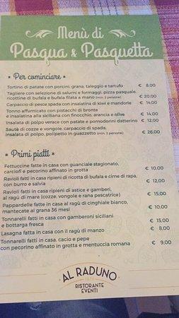 Morlupo, Italy: Il favoloso menú di Pasqua