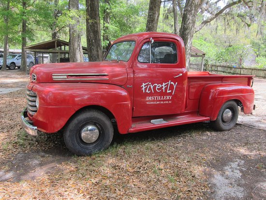 Wadmalaw Island, SC: Pickup truck at the Firefly Distillery