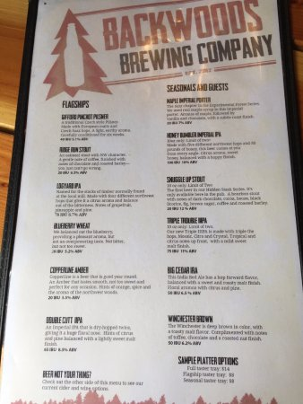 Backwoods Brewing Company: Beer List