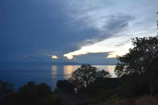 Lake Malawi National Park, Malawi: Sunset from balcony