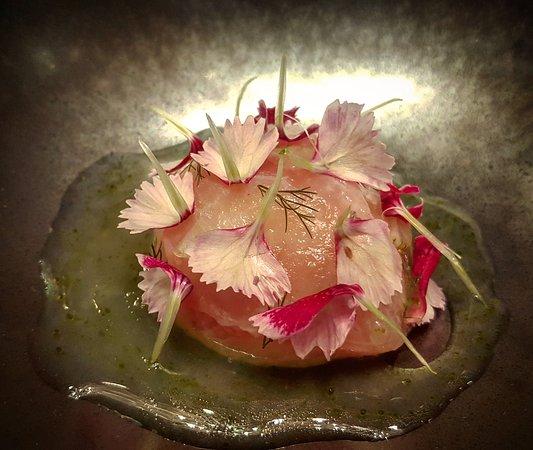 #amberjack served raw over #stracciatella, with #pickled cherry #radish shaved green #strawberri