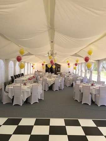 Winford, UK: Marquee, getting ready for a wedding
