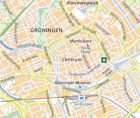 City map with hotel location Hampshire City Hotel Groningen