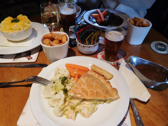 Burniston, UK: Chicken & leek pie, fish pie and braised steak