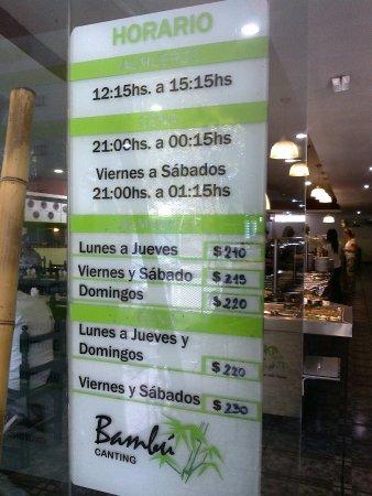 Cipolletti, Argentina: Tabla de precios: Horarios de ALMUERZO, CENA. Precios de ALMUERZO, CENA.