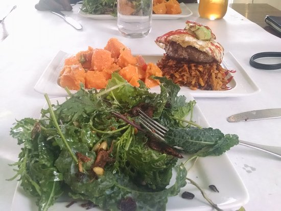 Avon by the Sea, NJ: The Bison, The Duck and The Egg Burger, Sweet Potato salad with Kale Salad
