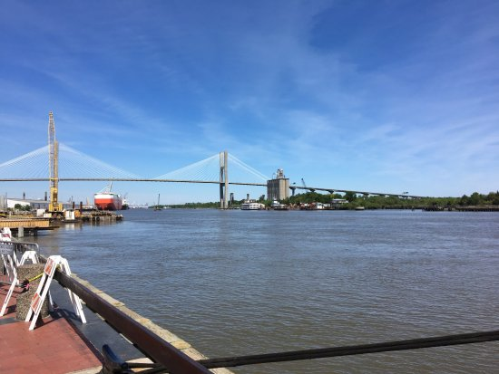 Talmadge Memorial Bridge: The new bridge, you can see the old bridge supports on the right side below