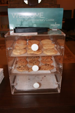 Manteno, IL: Fresh-b.aked cookies in the lobby