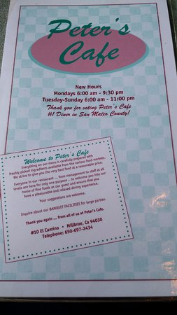 Millbrae, CA: Menu with info