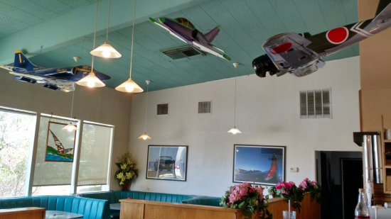 Millbrae, CA: Model planes hanging from the ceiling