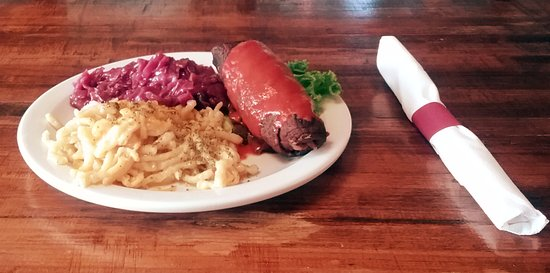 Maryville, TN: Roulade of Angus beef, filled with pickles, onion and bacon. Comes with Spätzle and red cabbage