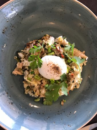 JUST Inn: Chicken friend rice with a poached egg for part two of breakfast. Wonderful!