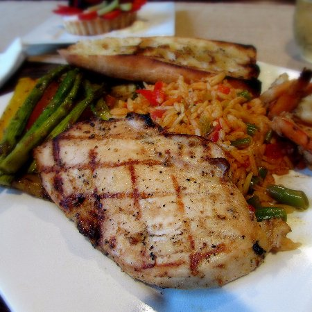 Waynesville, NC: One of our dine in options - mixed grill with rice pilaf