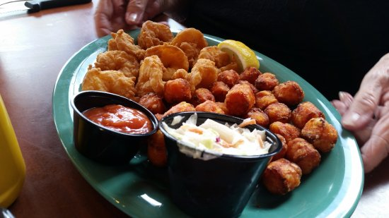 Shrimp with tater tots. The tater tots are made with sweet potatoes.