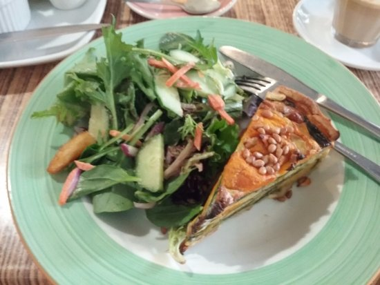 Blackheath, Australia: Spinach, feta and pumpkin quiche with salad.