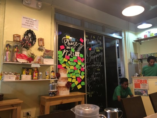 """Marikina, Philippines: This little """"hall-in-a-home"""" is filled with post-it notes from happy customers."""