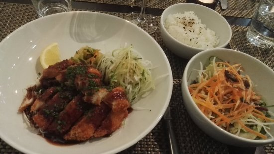 Hoku: Chicken Katsu, Corn-fed chicken breast, panko crusted and deep fried, served with rice and salla