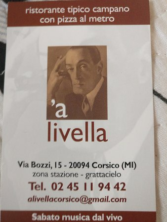 Ristorante Pizzeria A Livella : Card