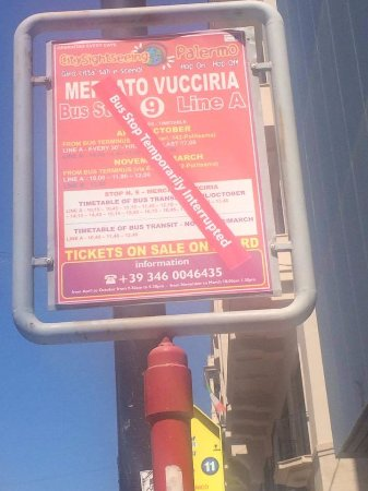 City Sightseeing Palermo: The company needs to mark ALL stops like this if there is a change in service!