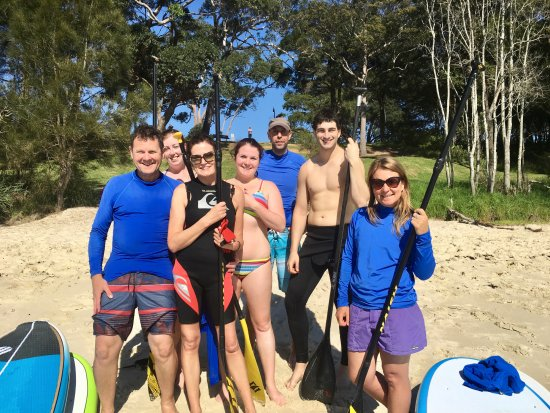 Huskisson, Australia: A happy group of first time stand up paddlers.