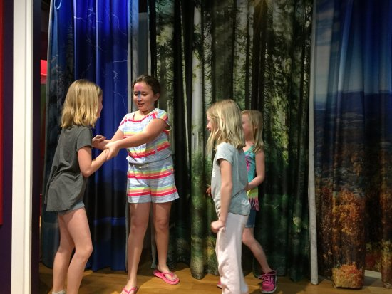 Explore More Discovery Museum: Stage in the theater room, costumes were available