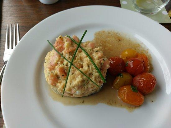 Acorn Place: scrambled egg and salmon on a mushroom