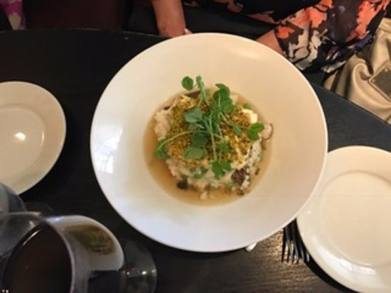 Cafe Routier: pistachio crusted halibut with mushroom risotto