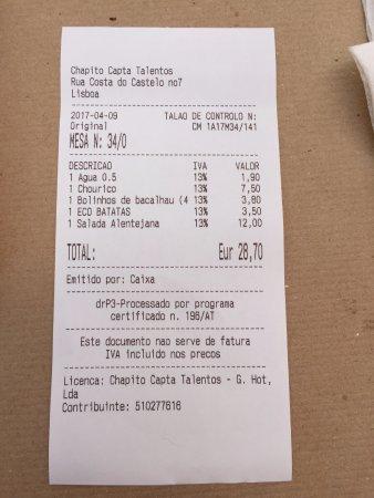 Chapitô à Mesa: Ticket con la cuenta