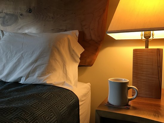 Hotel Floyd: Hand-crafted furniture and furnishings - and great coffee with real mugs in the room!