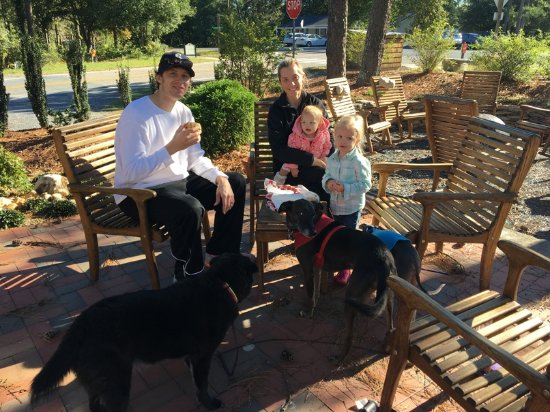 Pinehurst, NC: We are your neighborhood coffee shop!  Bring the kids & dogs!!
