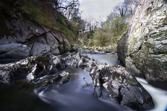Betws-y-Coed, UK: View of the back of the Glen Slow Shutter