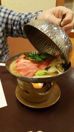 Kyoto Ryokan Shoei: Part of dinner in the Ryokan restaurant