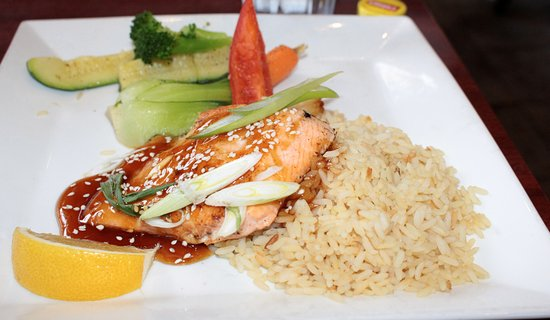 Ajax, Canada: Teriyaki glazed Salmon with Rice and steamed vegetables