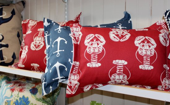 New Harbor, ME: Members Carol and George Tattan sell a variety of pillows.