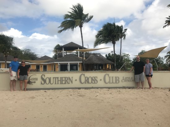Southern Cross Club: Our family beside the pool wall