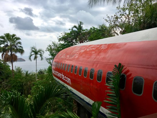 View of the side of the 727 Fuselage rental - taken from the