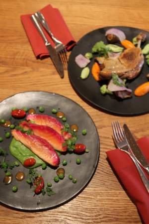 San Anselmo, CA: pan seared salmon and the duck confit