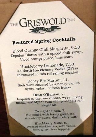 Griswold Inn ~ Dining: menu for spring cocktails