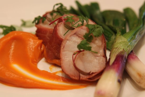 San Anselmo, Califórnia: monkfish wrapped in bacon