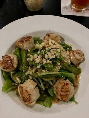 Kawaihae, HI: Grilled scallop salad with macadamia nuts.