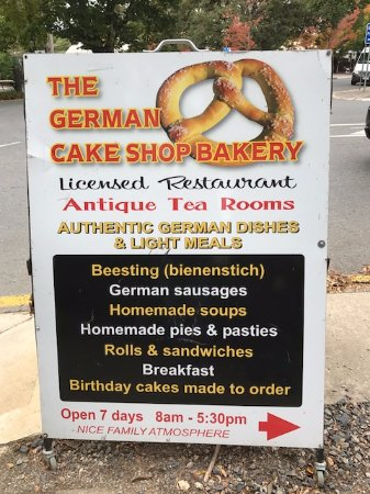 The German Cake Shop: Sign Out The Front